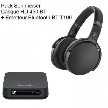 Pack Casque Sennheiser HD 450BT + Emetteur BT T100